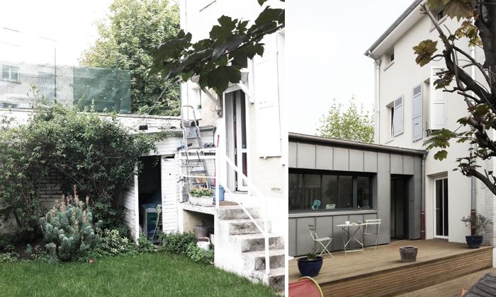Extension et surélévation d'une maison de ville à Colombes